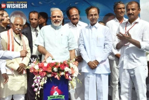 PM Modi Launches Mission Bhagiratha, KCR Gives Speech in Hindi
