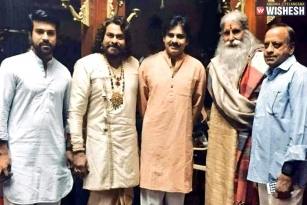 Pawan Kalyan, Ram Charan On The Sets Of 'Sye Raa'