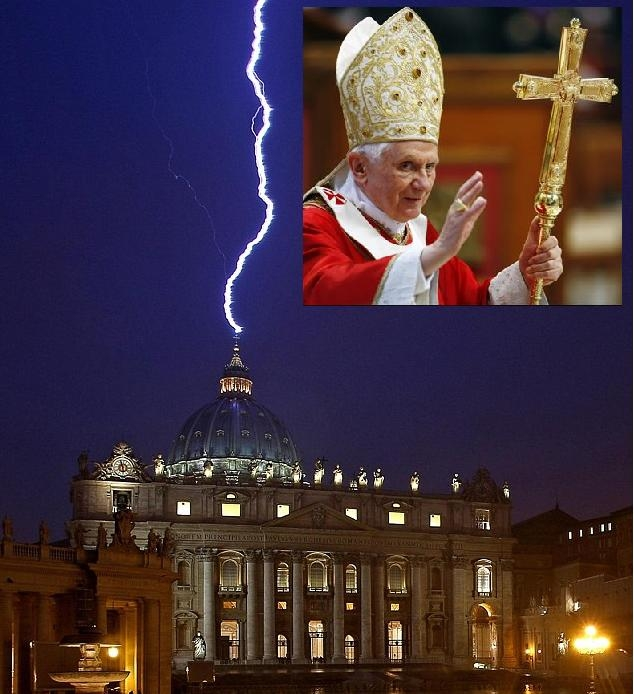 A sign from God!! Lightning hits St Peter's hours after Pope Benedict resignation.