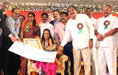 PV Sindhu Felicitated by Dr Ramineni Foundation Pics