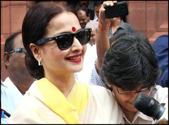 Rekha spotted in Parliament