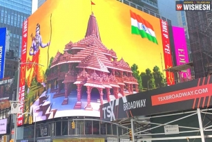 New York's Times Square Beamed Up With Ayodhya Temple Model