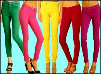 Bright jeans paint the prettiest figure