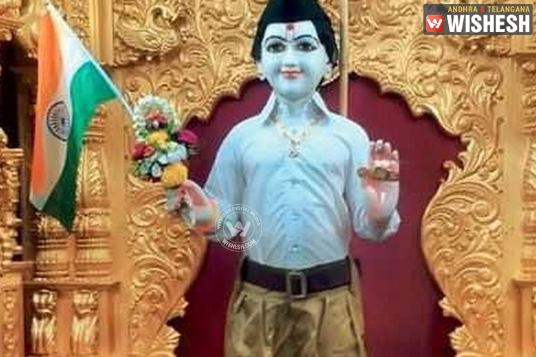 Temple Authorities Dress Up Lord Idol in RSS Uniform